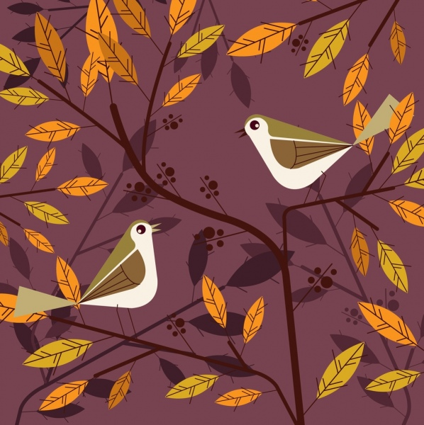 natural background birds leaves branch icons decor