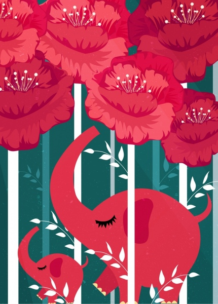 natural background red flowers elephants icons