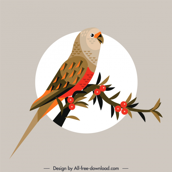 natural bird painting parrot branch sketch retro colorful