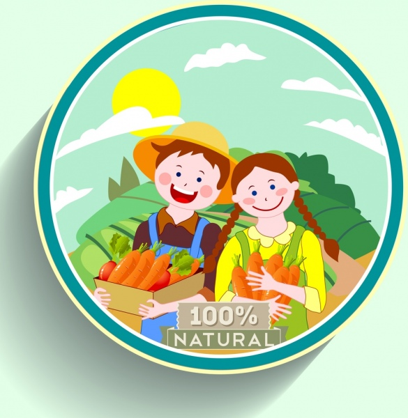 natural carrot label young farmer icons multicolored cartoon