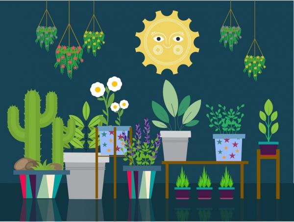 natural decorative plants icons flat colored design