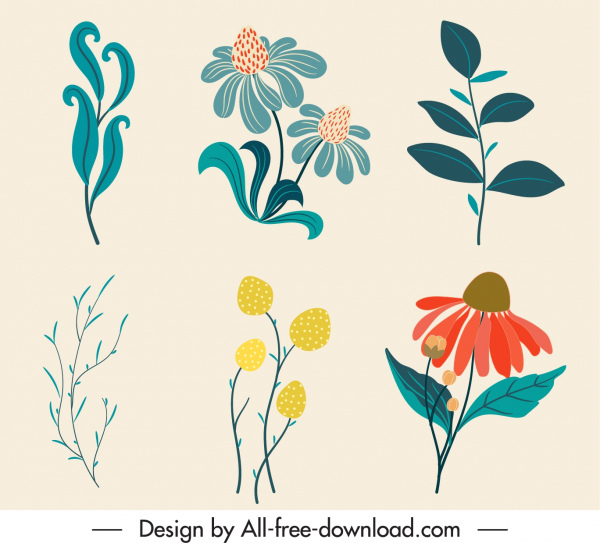 natural design elements colored classic handdrawn flowers leaf