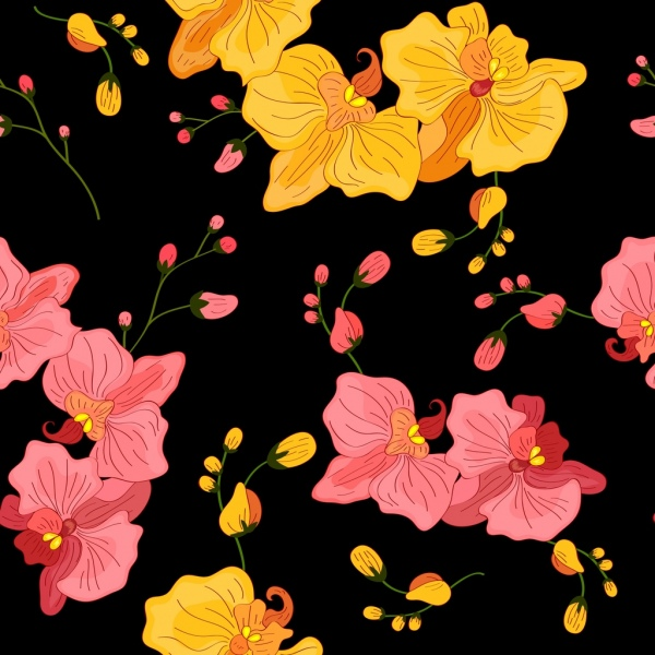 natural flower pattern yellow pink decor