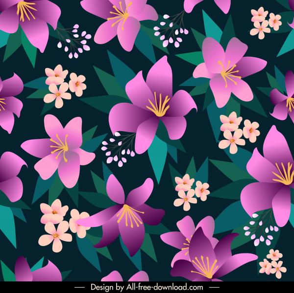 natural flowers pattern template dark classic petals decor