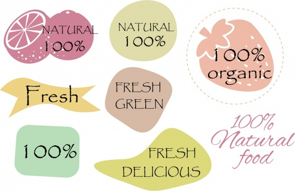 natural food labels collection various shaped colored flat icons
