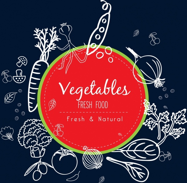 natural food promotion background vegetable icons handdrawn sketch