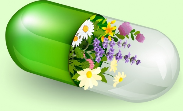 natural herbal product advertising 3d shiny capsule flowers decoration