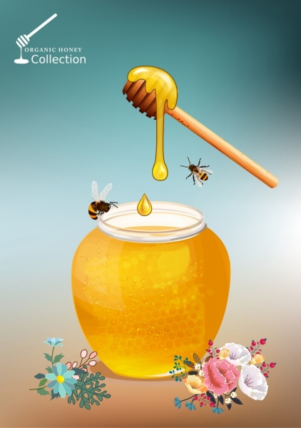 natural honey advertising jar bees flowers icons decor