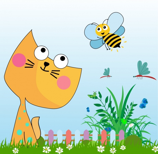 natural insects background colored stylized cartoon decoration