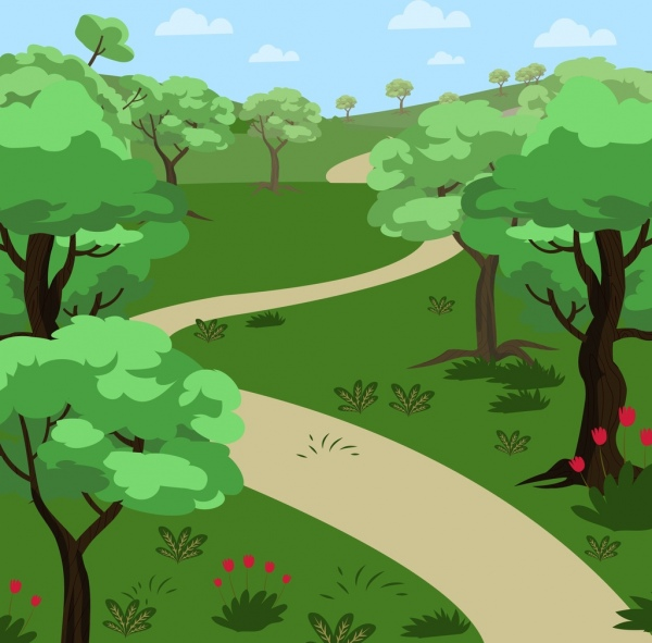 natural landscape drawing green tree pathway icons