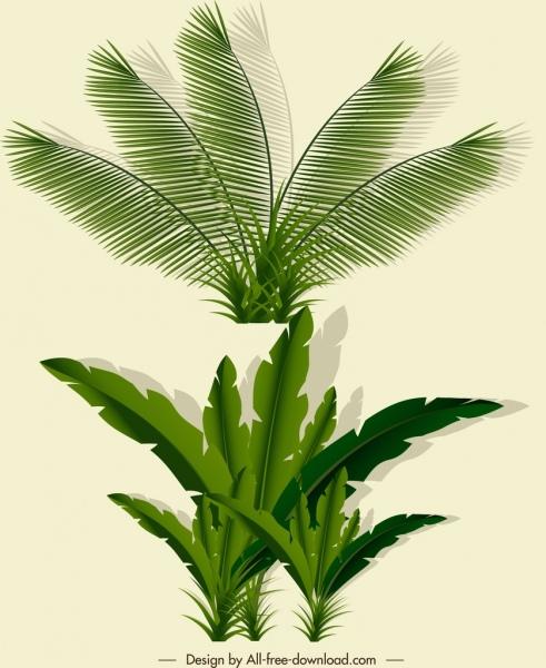 natural leaf icons green sketch