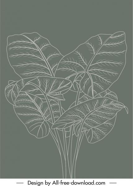 natural leaves painting dark retro handdrawn sketch