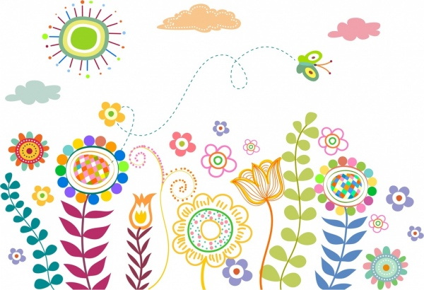 natural life drawing multicolored handdrawn flowers butterfly icons