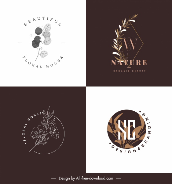 natural logo templates classic design floral leaves decor
