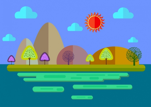 natural scenery background colorful cartoon style sketch
