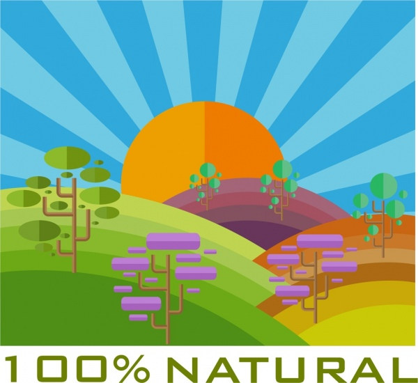 natural scenery background colorful geometric style design