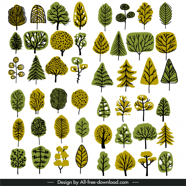 natural tree icons collection classical flat handdrawn sketch