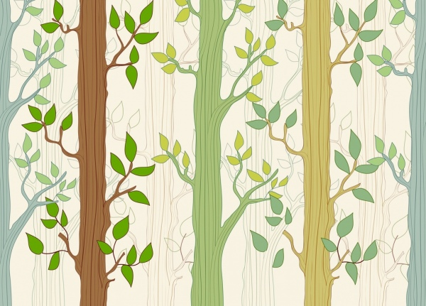 natural trees background colorful flat design