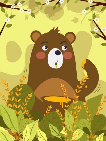 nature background bear honey spring flowers icons decor