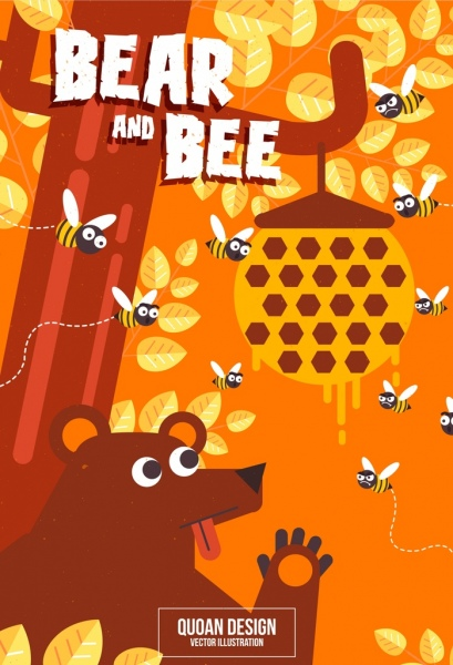 nature background bears honeybees icons colored cartoon