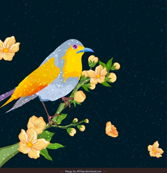 nature background bird flowers decor colorful classical design