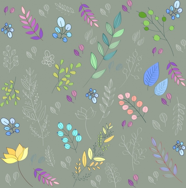 nature background colorful leaves icons sketch decor