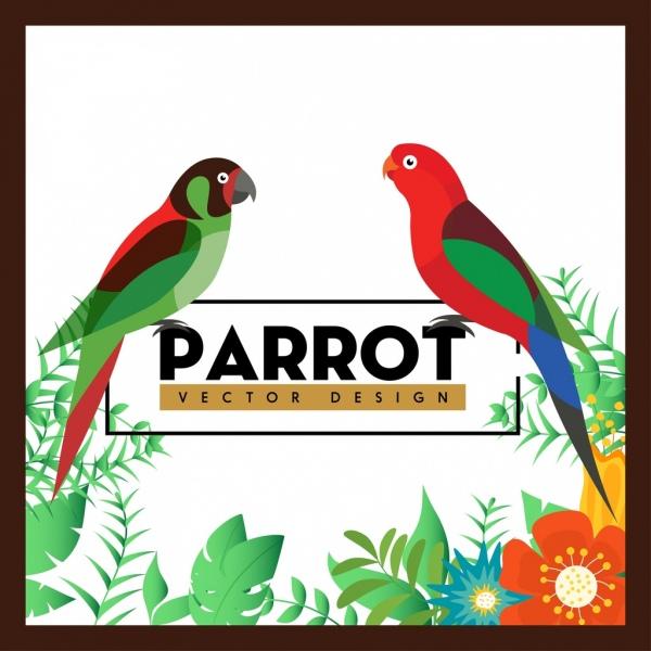 nature background colorful parrots flowers decoration