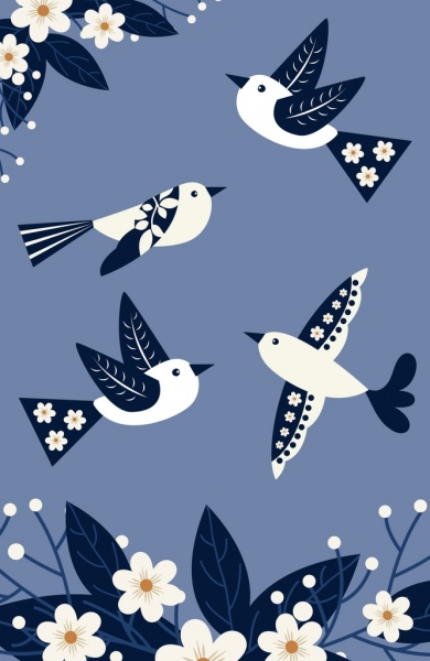 nature background flowers birds icons classical design