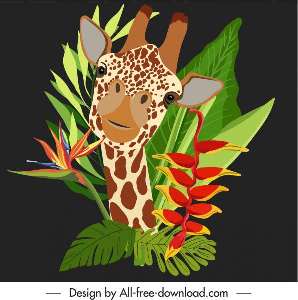 nature background giraffe flowers leaves sketch dark design