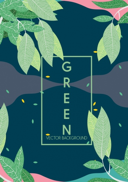 nature background green leaves icons classical design