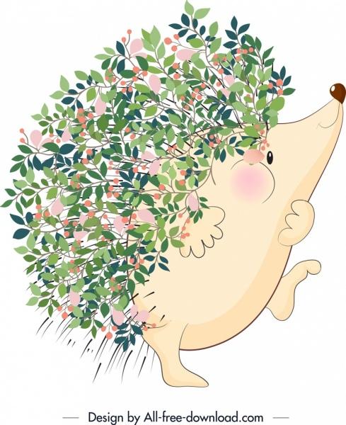 nature background hedgehog icon flowers decor