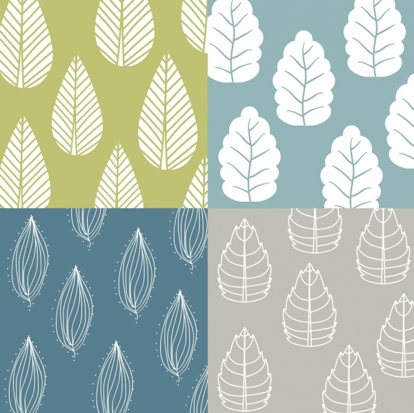 nature background leaf icons repeating white sketch