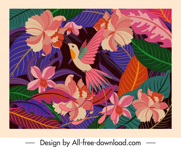 nature background template bird floras decor classical design