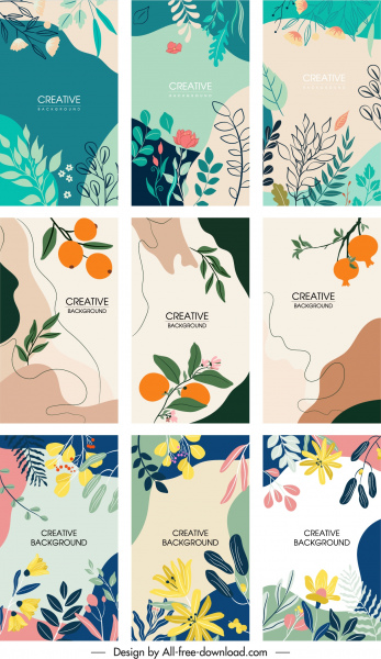 nature background templates collection classical flat handdrawn sketch