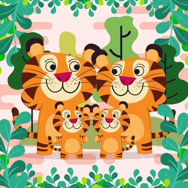nature background tigers family icons cute cartoon design