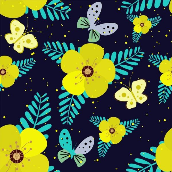 nature background yellow flowers butterflies icons decoration