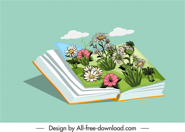 nature book icon colorful 3d floral decor