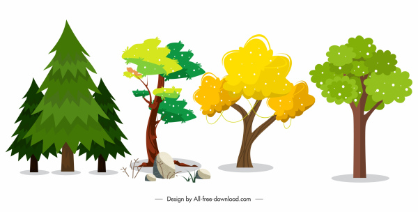 nature elements icons trees shapes sketch classic design