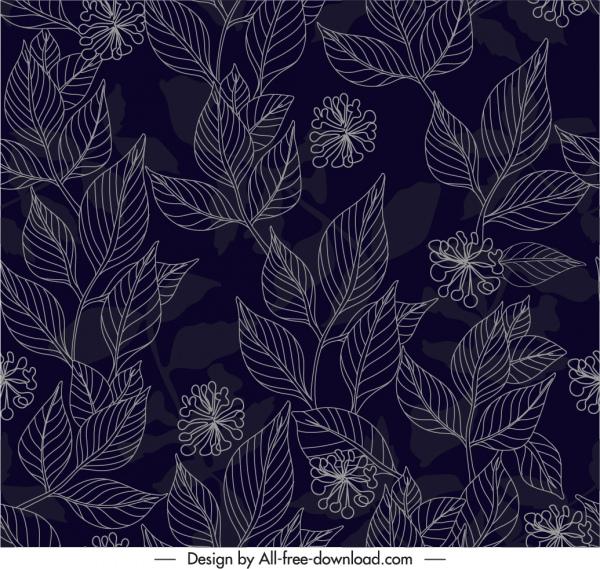 nature elements pattern dark handdrawn botany leaf sketch