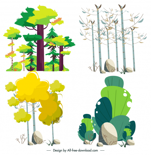 nature elements trees stones sketch classic handdrawn design