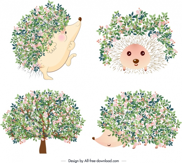 nature icons hedgehog tree flowers decor