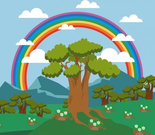 nature landscape background colorful rainbow tree mountain icons