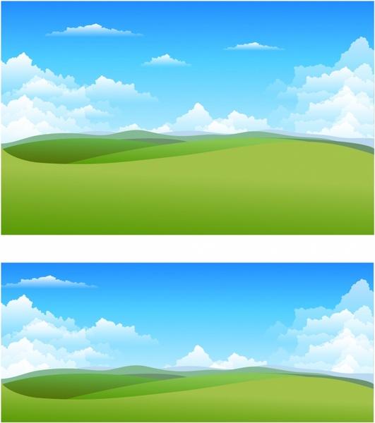 Landscape Illustration Vector Free: Nature Landscape Backgrounds Free Vector In Adobe