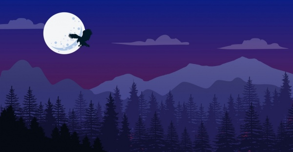 nature landscape drawing dark violet mountain moonlight icon