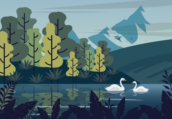 nature landscape painting lake swan trees mountain icons