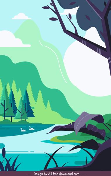 nature landscape painting pond sketch colorful classic