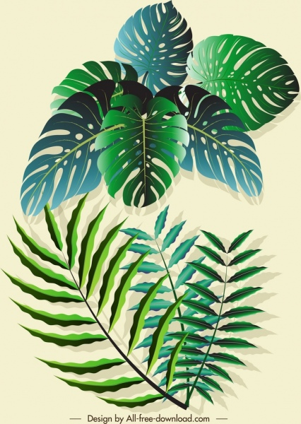 nature leaves icons shiny modern green 3d sketch