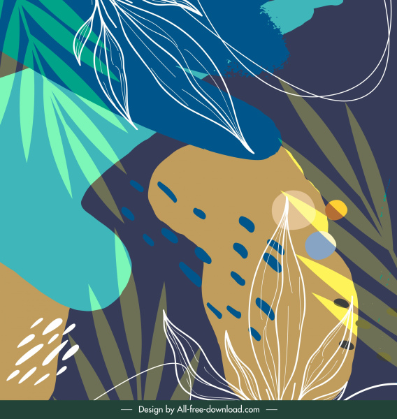 nature painting handdrawn leaf sketch retro design