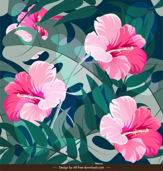 nature painting hibiscus flowers leaves decor classical design