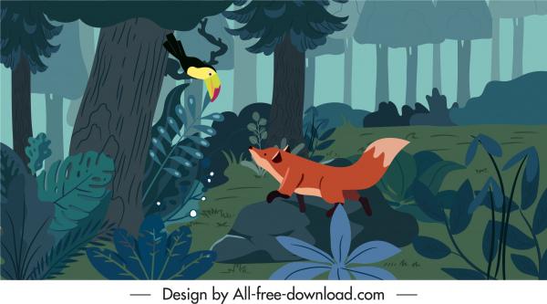 nature painting jungle fox toucan sketch cartoon design